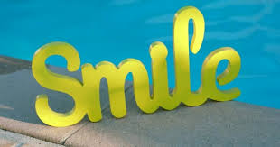 Pool Word Wooden Word Smile Sign Blue Water Swimming Pool Background Dci