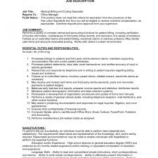 medical billing coding job description medical billing and coding job description sample fred resumes