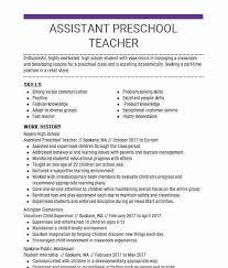 Kindergarten Teacher Resume Assistant Preschool Teacher Resume Sample Livecareer