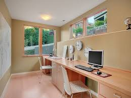 long desks for home office. Long Computer Desk For Home Office Design With Two Persons Capacity And Wood Floor Laminate Also Sliding Glass Window Three Wall Clocks Plus Minimalist Desks O