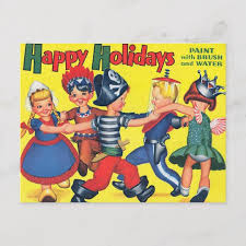 Retro Holidays Retro Vintage Kitsch Children Happy Holidays Holiday Postcard