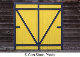 blue yellow wooden barn door