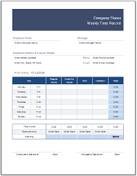 Weekly Time Record Weekly Time Record Sheet Template For Excel Excel Templates