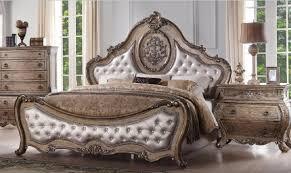 acme 26307ek ragenardus luxury vintage oak eco leather tufted king bedroom set 2pcs classic