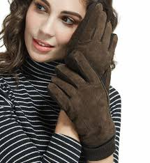 lethmik thick suede leather gloves womens winter warm fleece lined with long