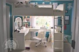 Girls white loft bed with desk