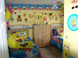 Twin Teenage Bedroom Design With Spongebob Wallpaper And Furniture Theme  Decoration Plus Yellow Wall Interior Color And Simple Wood Wardrobe Between  Two Bed ...