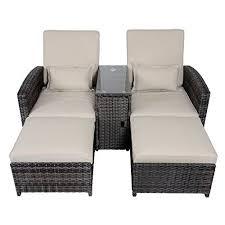 antigua rattan wicker reclining sun lounger panion chair garden furniture set garden rattan furniture