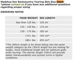 Backcountry Ski Size Chart Picking Length For All Terrain Touring Xc Skis The Great