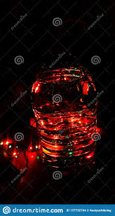 Light Source Christmas Lights Christmas Light Throught Bottle Of Water Stock Photo