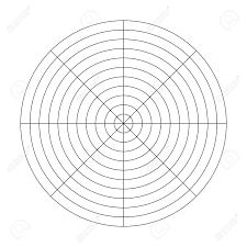 Polar Grid Of 10 Concentric Circles And 45 Degrees Steps Blank