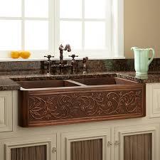36 vine design double bowl copper farmhouse sink kitchen with regard to copper farmhouse kitchen sink