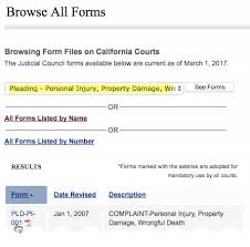 Judicial Council Form Complaint Classy How To File Court Papers In CA For Personal Injury Accident