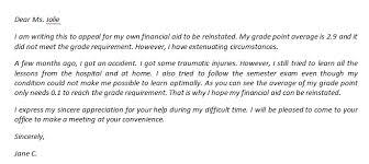 financial aid reinstatement appeal