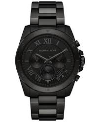 michael kors men s chronograph brecken black ion plated stainless michael kors men s chronograph brecken black ion plated stainless steel bracelet watch 44mm mk8482
