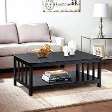 It can be used as a coffee table or as a side table. Amazon Com Choochoo Black Wood Coffee Table For Living Room Rectangle Mission Coffee Table With Shelf 40 Inch Easy Assembly Kitchen Dining