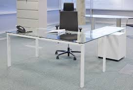 glass desk with return large glass workstations