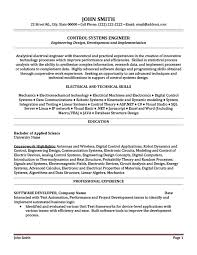 Control Systems Engineer Resume