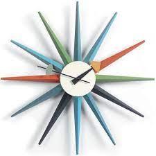 sunburst clock multi colour stardust