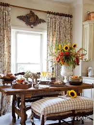 french country breakfast nook love the bench cushion and ds great trestle table too oh and the carved medallion over the window to balance out the