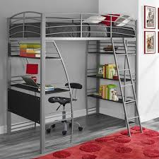 loft bunk bed over desk and bookcase twin in gray