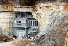 This modern and energy-efficient 15,000-square-foot home is built within a  sandstone cave in Festus, Missouri. Built by Curt and Deborah Sleeper, ...