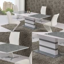 arctic grey glass and white gloss extending dining table 160cm to 220cm
