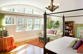 Nice Interior Design Bedroom Winsome Brown Flooring Under Bed Beside Shelf Near Drawing Are