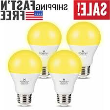 Led Yellow Bug Light 4 Pack A19 Led Bug Light Bulb Yellow