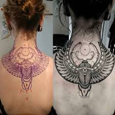 Back Neck Scarab Tattoo Back Tattoos татуировка анубиса идеи
