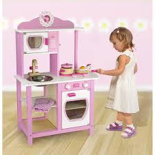 childrens kids pink wooden pretend playkitchen toy playset oven