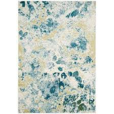 teal watercolor mid century modern area rugs