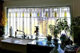 leaded art glass window single glazed in the frank lloyd wright style with