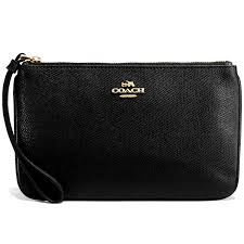 Coach Large Wristlet In Crossgrain Leather Black   F57465