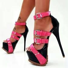 pink and black stripper heels patent leather buckle sandals y shoes image 1
