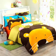 twin size bed sets for girls orange brown blue and yellow cartoon lion king print jungle twin size bed sets