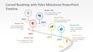 Timeline Powerpoint Slide Curved Roadmap With Poles Milestones Powerpoint Timeline