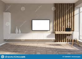 Wooden Tv Set Design White And Wood Home Workplace Mockup Tv Screen Stock