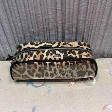 victoria s secret stripe sequin cosmetic bag swim pouch makeup perfume