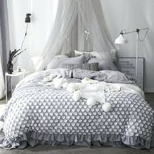 light pink duvet cover twin xl lace princess bedding set gray white queen king cotton size