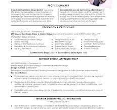 Interior Design Assistant Sample Resume Interior Design Resumes Intern Internship Examples Qualifications 19
