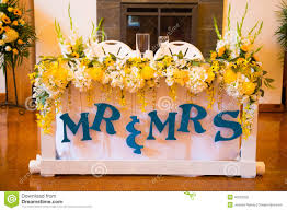 Bride Groom Table Decoration Bride And Groom Wedding Table Royalty Free Stock Photos Image