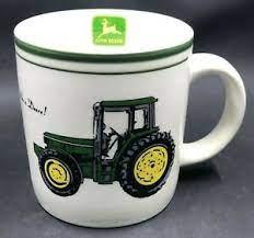 2 john deere tractor coffee mug cup nothing runs like a deere wheat gibson. Large John Deere Coffee Mug Cup Tractor By Gibson 4 Tall Looks Unused Ebay