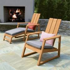 adirondack chairs. Aspen Adirondack Chairs With Gray Linen Cushions And Footrest.
