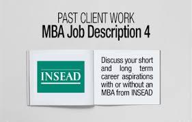 insead mba job description career goals acirc fxmbaconsulting