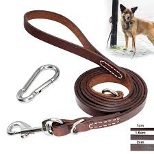 details about 5ft 6ft leather dog leash walking training leads for large medium dogs carabiner