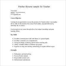 Resume Format For Teacher Post Classy Career Objective For Resume For Fresher Teacher Resume Template