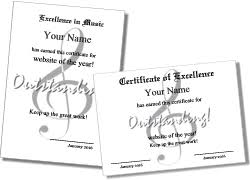 Award Of Excellence Certificate Template Music certificate templates 91