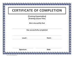 Certificate Of Completion Sample Procedure Manual Template Word