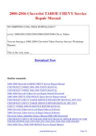 2000-2006 Chevrolet TAHOE CHEVY Service Repair Manual.pdf by Ging ...